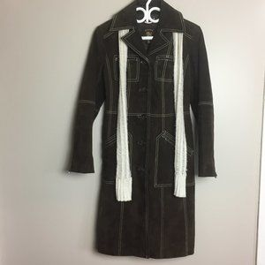 Guess Suede Leather Trench Coat